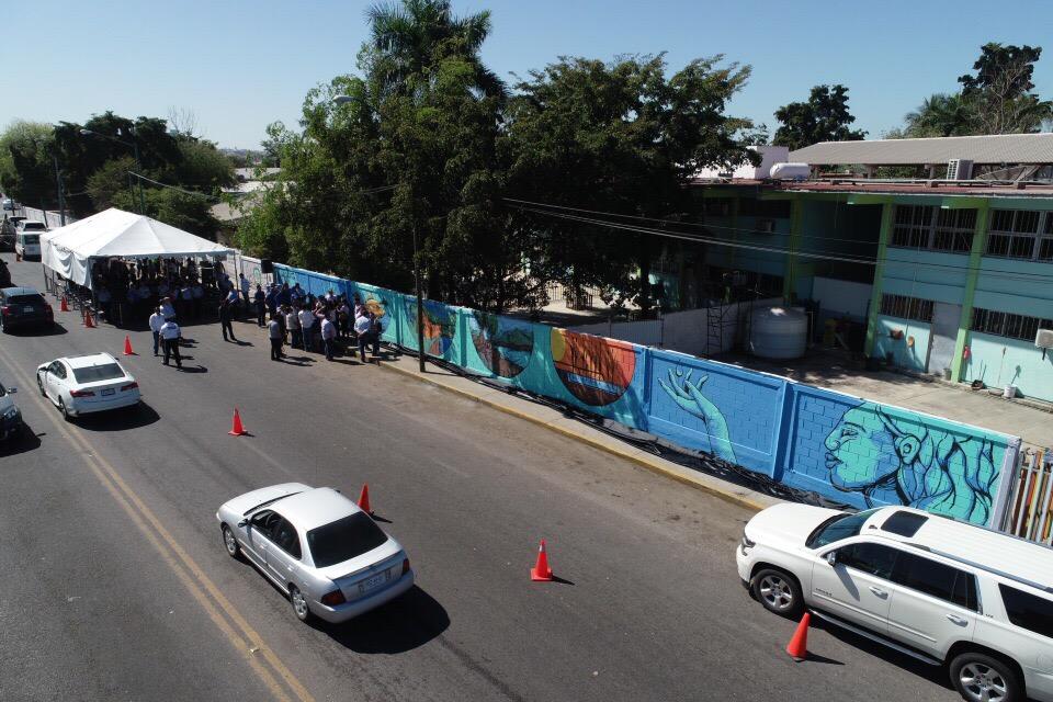 Autoridades develan el mural Soluciones basadas en la naturaleza del Agua  En conmemoración por el Día Mundial del Dia